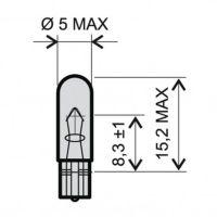 VDO Glassockel Lampe - T5 - W2x4.6d - 12V-1.2W Rot